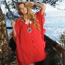 Красная пляжная туника