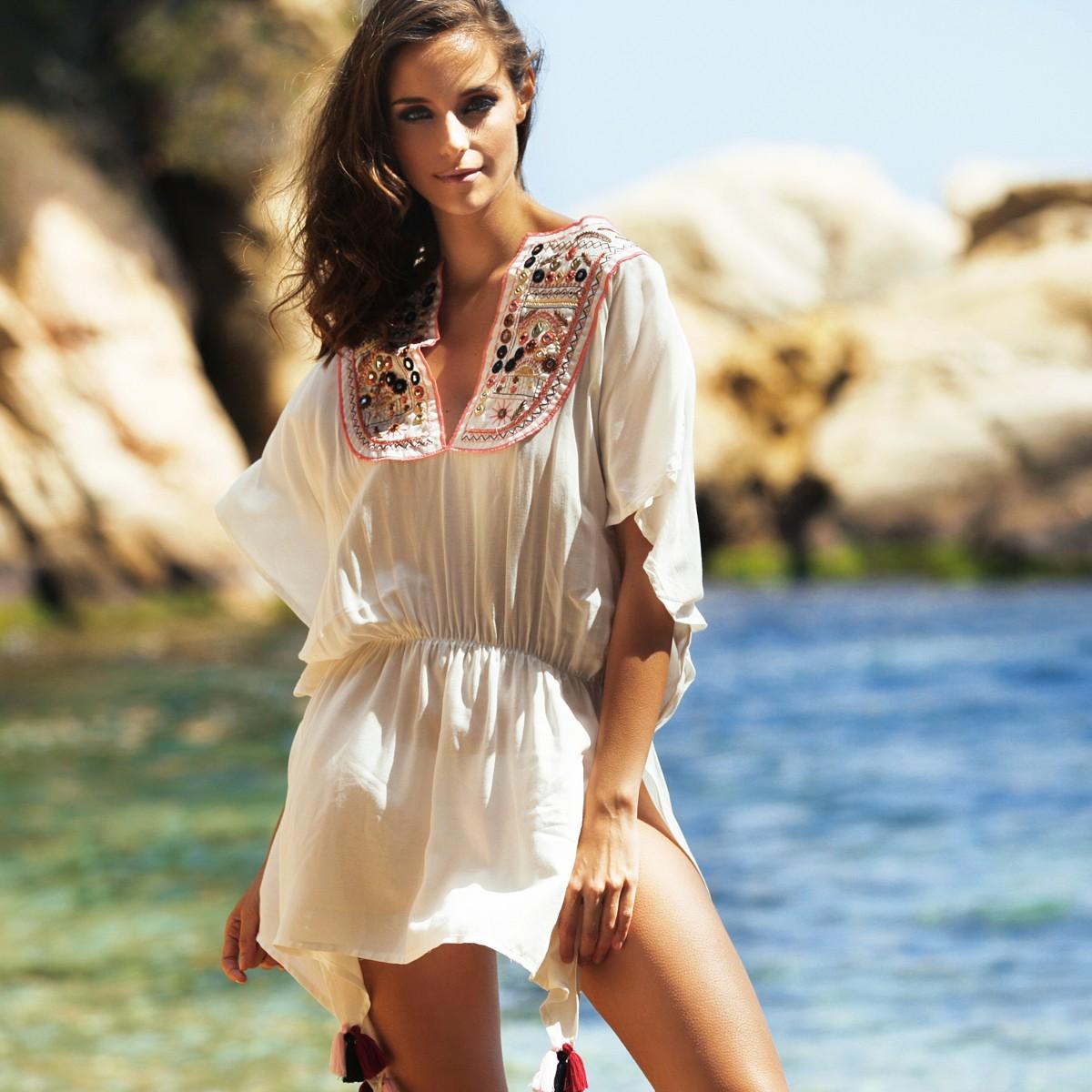 Туника пляжная в стиле Бохо Шик с узором на груди Milonga