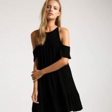 Черное пляжное платье