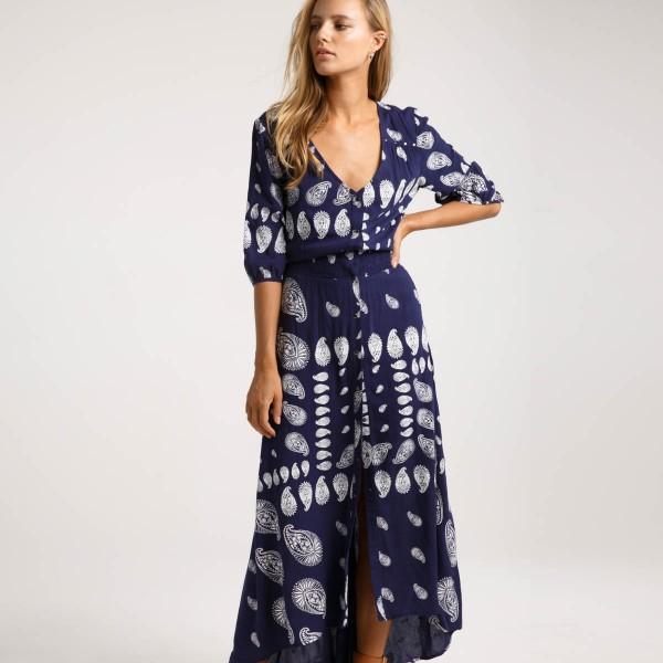 Темно-синее платье макси