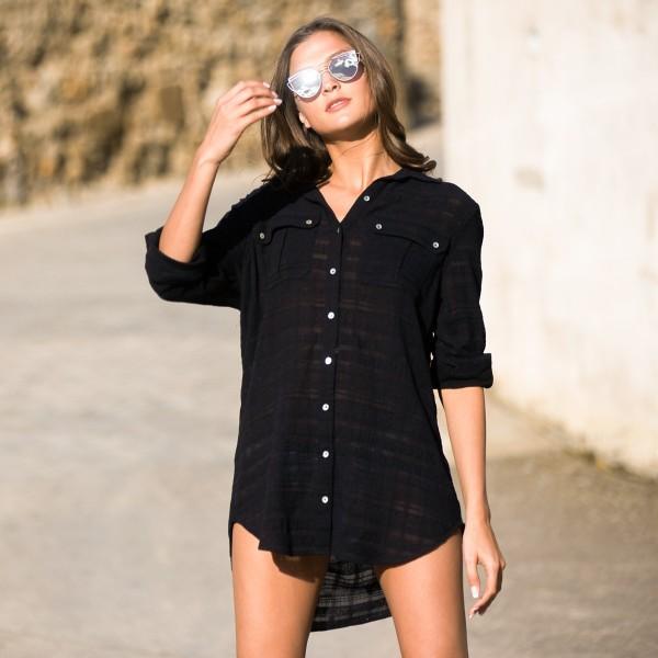 Черная пляжная туника рубашка Seafolly